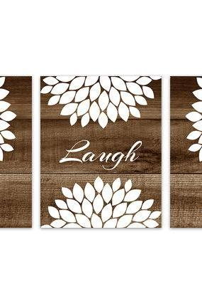 DIGITAL DOWNLOAD - Brown Bedroom Wall Art, INSTANT DOWNLOAD Bathroom Art, Live Laugh Love, Brown and White Home Decor, Flower Burst Artwork - HOME147