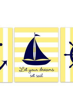 DIGITAL DOWNLOAD - Nautical Nursery Wall Art, Sailboat Nursery Decor, INSTANT DOWNLOAD Yellow Nursery Art, Let Your Dreams Set Sail, Sailboat Art - KIDS179