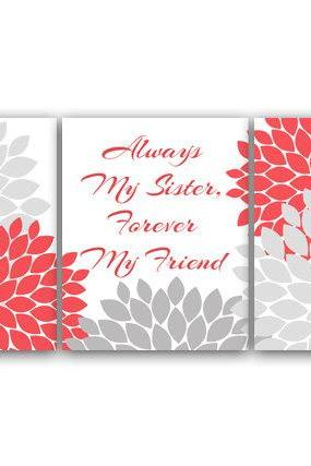 DIGITAL DOWNLOAD - Sisters Wall Art, Sister Quote, PRINTABLE Wall Art, Always My Sister Forever My Friend, Coral and Gray Nursery, Instant Download - KIDS40