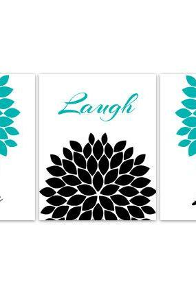 DIGITAL DOWNLOAD - Bedroom Wall Art, INSTANT DOWNLOAD Wall Art, Live Laugh Love, Teal Home Decor, Aqua and Black Flower Burst Artwork - HOME103