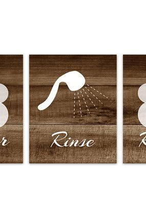 DIGITAL DOWNLOAD - Shower Art Prints, Brown Bathroom Wall Art, Lather Rinse Repeat, Set of 3 Bath Art Prints, Brown Wood Effect Bathroom Decor - BATH108