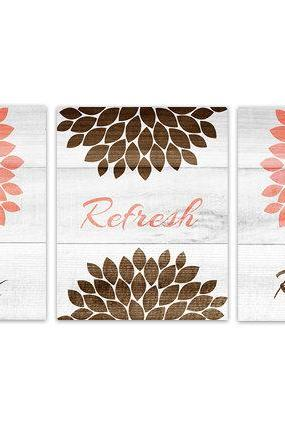 DIGITAL DOWNLOAD - Brown and Coral Bathroom Wall Art, INSTANT DOWNLOAD Relax Refresh Renew, Coral and Brown Bathroom Decor, Flower Burst Artwork - BATH114