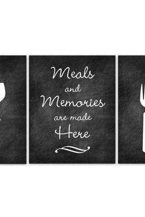 DIGITAL DOWNLOAD - Meals and Memories, INSTANT DOWNLOAD, Fork Spoon Knife Art, Wine Art Print, Dining Room Art, Chalkboard Kitchen Wall Art - HOME100
