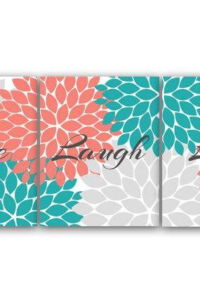 DIGITAL DOWNLOAD - Bedroom Wall Art, Live Laugh Love, INSTANT DOWNLOAD Bath Art, Printable Modern Bedroom Wall Decor, Coral and Teal Bedroom Decor - HOME56