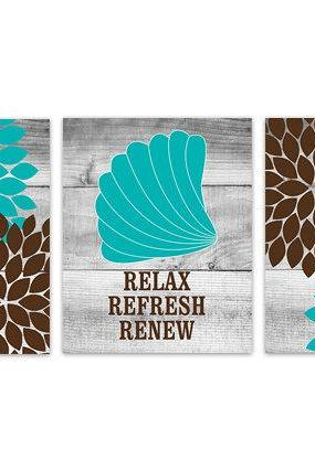 DIGITAL DOWNLOAD - Brown and Teal Bathroom Decor, Relax Refresh Renew, INSTANT DOWNLOAD Bath Art, Printable Modern Bathroom Decor - BATH105
