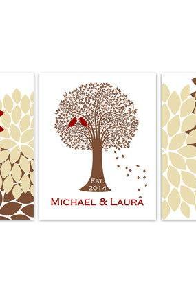 DIGITAL DOWNLOAD - Home Decor Wall Art, DIGITAL DOWNLOAD Custom Family Tree Established Print, Red and Brown Home Decor, Wedding Gift- HOME112