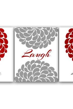 DIGITAL DOWNLOAD - Bedroom Wall Art, Live Laugh Love, INSTANT DOWNLOAD Bath Art, Printable Modern Bedroom Wall Decor, Red and Gray Bedroom Decor - HOME40