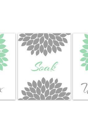 DIGITAL DOWNLOAD - Mint and Grey Bathroom Decor, Bathroom Art, Relax Soak Unwind, Set of 3 Bath Art Prints, INSTANT DOWNLOAD Modern Bathroom Art - BATH82