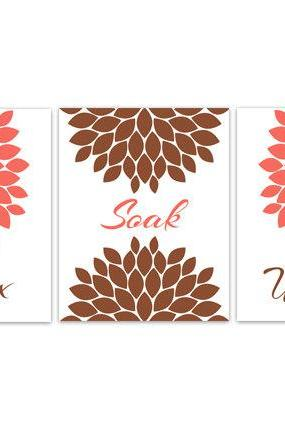DIGITAL DOWNLOAD - Relax Soak Unwind, INSTANT DOWNLOAD Modern Bathroom Decor, Set of 3 Bath Art Prints, Bathroom Art, Coral & Brown Bathroom Decor - BATH69