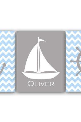 DIGITAL DOWNLOAD - Nautical Nursery Wall Art DIGITAL DOWNLOAD Blue and Grey Personalized Boy Nursery Art Sailboat Print Anchor Art - KIDS117