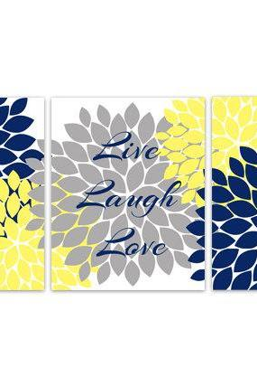 DIGITAL DOWNLOAD - Bedroom Wall Art, INSTANT DOWNLOAD Bathroom Art, Live Laugh Love, Blue and Yellow Wall Art, Home Decor, Flower Burst Artwork - HOME109