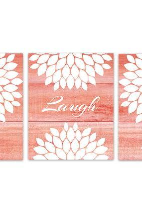 DIGITAL DOWNLOAD - Coral Bedroom Wall Art, INSTANT DOWNLOAD Bathroom Art, Live Laugh Love, Coral and White Home Decor, Flower Burst Artwork - HOME146