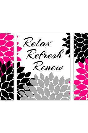 DIGITAL DOWNLOAD - Instant Download Bathroom Art, Black and Pink Bathroom Decor, Relax Refresh Renew, Printable Modern Bathroom Decor, Fuchsia Bath - BATH99