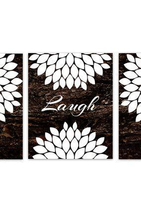 DIGITAL DOWNLOAD - Brown Bedroom Wall Art, INSTANT DOWNLOAD Bathroom Art, Live Laugh Love, Brown and White Home Decor, Flower Burst Artwork - HOME141