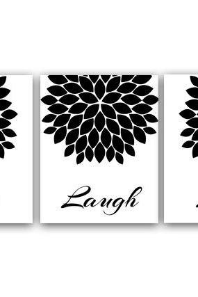 DIGITAL DOWNLOAD - Live Laugh Love Wall Art, Printable Wall Art, Black and White Art, Quote Art Print, Home Decor, Chrysanthemum, Instant Download - HOME16