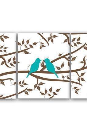 DIGITAL DOWNLOAD - Aqua Bedroom Decor, Home Decor Art, INSTANT DOWNLOAD Love Bird Prints, Aqua and Brown Bathroom Wall Art Set of 3 Art Print - HOME77