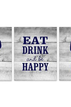 DIGITAL DOWNLOAD - Blue Kitchen Wall Art, INSTANT DOWNLOAD, Fork Spoon Knife Art, Wine Art Print, Dining Room Art, Eat Drink and Be Happy Quote - HOME149