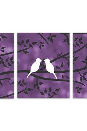 DIGITAL DOWNLOAD - INSTANT DOWNLOAD Love Bird Prints, Purple Bedroom Decor, Home Decor Art, Purple Bathroom Wall Art Set of 3 Art Print - HOME132