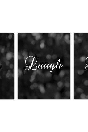 DIGITAL DOWNLOAD - Instant Download Home Quote Art, Live Laugh Love, Black Bokeh Bedroom Wall Art, Black Home Decor, Printable Kitchen Decor Art - HOME137