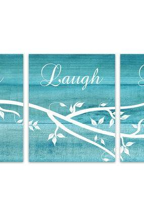 DIGITAL DOWNLOAD - Instant Download Home Quote Art, Live Laugh Love, Aqua Bedroom Wall Art, Printable Kitchen Decor Art, Aqua Wood Effect Wall Art - HOME145