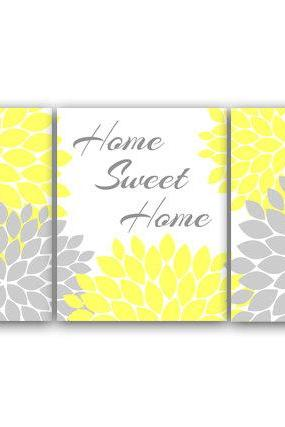 DIGITAL DOWNLOAD - Bedroom Wall Art, Home Sweet Home, Instant Download Home Decor, Printable Modern Bedroom Wall Decor, Yellow and Gray Bedroom Decor - HOME42