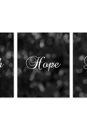 DIGITAL DOWNLOAD - Faith Hope Love, Bedroom Wall Art, Black and White Home Decor with Bible Words, Instant Download 1 corinthians 13 Sign - HOME130