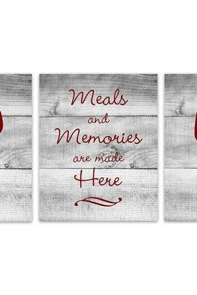 DIGITAL DOWNLOAD - Red Kitchen Wall Art, INSTANT DOWNLOAD, Fork Spoon Knife Art, Wine Art Print, Dining Room Art, Meals and Memories, Wood Effect - HOME140