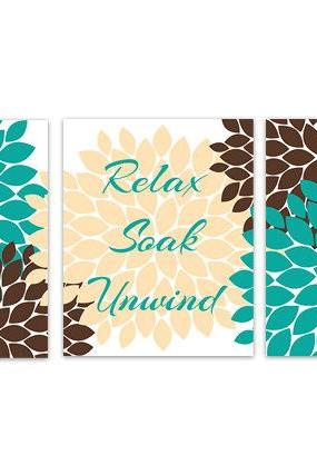 DIGITAL DOWNLOAD - Instant Download Bathroom Art, Teal and Brown Bathroom Decor, Relax Soak Unwind, Printable Modern Bathroom Decor - BATH98