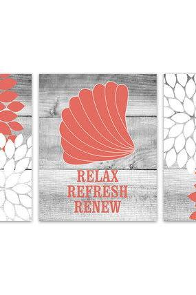 DIGITAL DOWNLOAD - Bathroom Wall Art, Coral and White Bathroom Decor, Relax Refresh Renew, INSTANT DOWNLOAD Bath Art, Printable Modern Bathroom Decor - BATH100