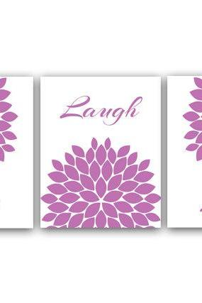 DIGITAL DOWNLOAD - Live Laugh Love Art Print, Printable Wall Art, Quote Art Print, Purple Home Decor, Chrysanthemum, Instant Download - HOME15
