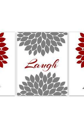 DIGITAL DOWNLOAD - Bedroom Wall Art, Live Laugh Love, INSTANT DOWNLOAD Home Decor Wall Art, Printable Modern Wall Decor, Red and Grey Bedroom Decor - HOME93