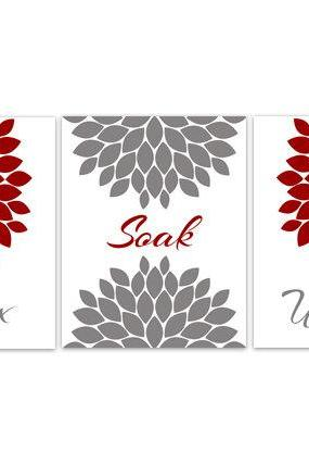 DIGITAL DOWNLOAD - Bathroom Art, Relax Soak Unwind, INSTANT DOWNLOAD Set of 3 Bath Art Prints, Modern Bathroom Decor, Red and Grey Bathroom Decor - BATH57