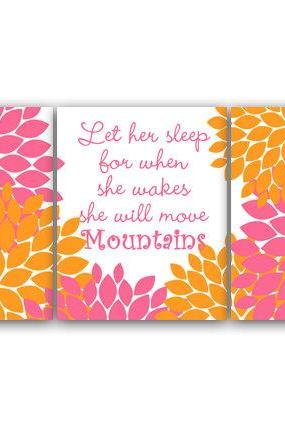 DIGITAL DOWNLOAD - Nursery Quote Art, Let Her Sleep, INSTANT DOWNLOAD, Printable Wall Art, Hawaiian Nursery, Pink and Orange Nursery Decor - KIDS84