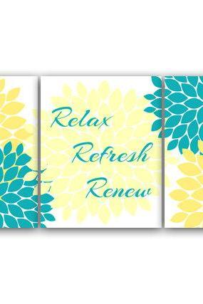 DIGITAL DOWNLOAD - Bathroom Wall Art, Relax Refresh Renew, INSTANT DOWNLOAD Bath Art, Printable Modern Bathroom Decor, Yellow and Aqua Bathroom Decor - BATH27