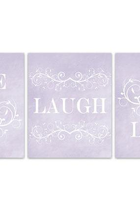 DIGITAL DOWNLOAD - Lavender Bedroom Wall Art, Live Laugh Love, INSTANT DOWNLOAD Modern Bedroom Wall Decor, Lavender Bedroom Decor - HOME113