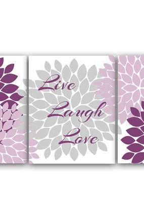 DIGITAL DOWNLOAD - Live Laugh Love, Bedroom Wall Art, Instant Download Bath Art, Printable Modern Bedroom Wall Decor, Purple and Gray Bedroom Decor - HOME26