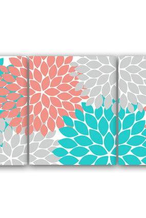DIGITAL DOWNLOAD - Home Decor Wall Art, INSTANT DOWNLOAD Grey Coral Teal Flower Burst Art, Bathroom Wall Decor, Coral Bedroom Decor, Nursery Wall Art - HOME58