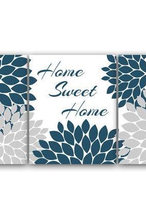 DIGITAL DOWNLOAD - Bedroom Wall Art, Home Sweet Home, INSTANT DOWNLOAD Home Decor, Printable Modern Bedroom Wall Decor, Blue Bedroom Decor - HOME55