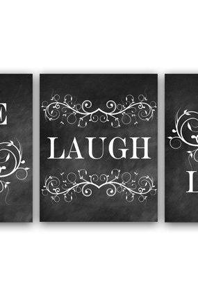 DIGITAL DOWNLOAD - Bedroom Art, Live Laugh Love, Bedroom Wall Art, Printable Chalkboard Art, Bathroom Decor, Instant Download - HOME23