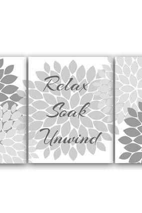 DIGITAL DOWNLOAD - Bathroom Wall Art, Relax Soak Unwind, Instant Download Bath Art, Printable Modern Bathroom Decor, Gray Bathroom Decor - BATH17