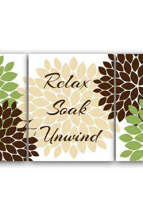 DIGITAL DOWNLOAD - Bathroom Art, Relax Soak Unwind, Set of 3 Bath Art Prints, INSTANT DOWNLOAD Modern Bathroom Decor, Green & Brown Bathroom Decor - BATH41