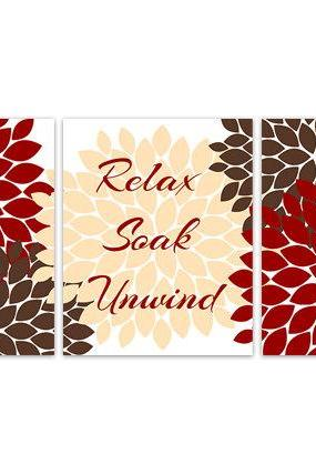 DIGITAL DOWNLOAD - Instant Download Bathroom Wall Art, Relax Soak Unwind, Printable Modern Bathroom Decor, Red and Brown Bathroom Decor - BATH88
