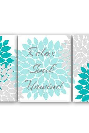 DIGITAL DOWNLOAD - Relax Soak Unwind, PRINTABLE Bathroom Wall Art, Instant DOWNLOAD Bath Art, Modern Bathroom Decor, Aqua and Gray Bathroom Decor - BATH16