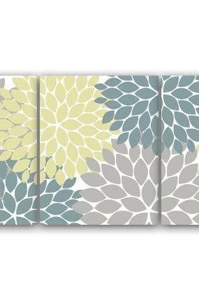 DIGITAL DOWNLOAD - Home Decor Art INSTANT DOWNLOAD Grey Teal Flower Burst Art Bathroom Wall Art Bedroom Decor Set of 3 Art Print - HOME72