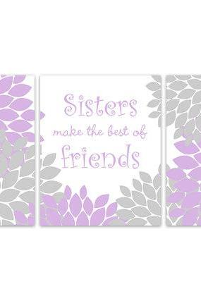 DIGITAL DOWNLOAD - Sisters Wall Art, Sister Quote, PRINTABLE Wall Art, Sisters Make The Best of Friends, Lavender and Gray Nursery, Instant Download - KIDS183