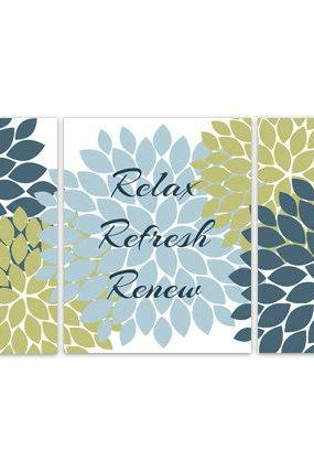 DIGITAL DOWNLOAD - Bathroom Wall Art, Relax Refresh Renew, INSTANT DOWNLOAD Bath Art, Modern Bathroom Decor, Teal and Green Bathroom Decor - BATH52