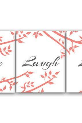 DIGITAL DOWNLOAD - Home Decor Wall Art, Live Laugh Love, INSTANT DOWNLOAD Coral and Gray Art, Tree Artwork, Printable Wall Art - HOME79