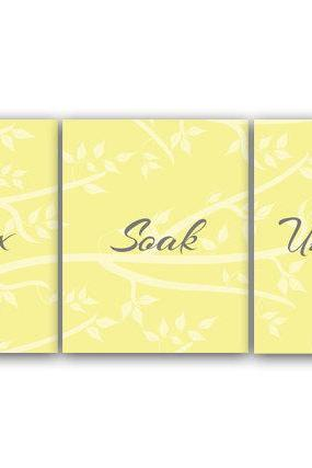 DIGITAL DOWNLOAD - Bathroom Wall Art, Relax Soak Unwind, INSTANT DOWNLOAD Bath Art, Printable Modern Bathroom Decor, Yellow and Gray Bathroom Decor - BATH51
