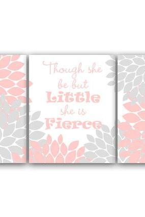 DIGITAL DOWNLOAD - Nursery Wall Art, Though She Be But Little She Is Fierce, DIGITAL DOWNLOAD Kids Wall Art, Nursery Quote Art, Pink Nursery Decor - KIDS62