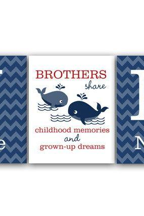 DIGITAL DOWNLOAD - Brothers Wall Art, DIGITAL DOWNLOAD Boys Monogram Art, Blue Chevron Whale Nursery, Brothers Quote, Kids Name Art, Boys Room Decor - KIDS111